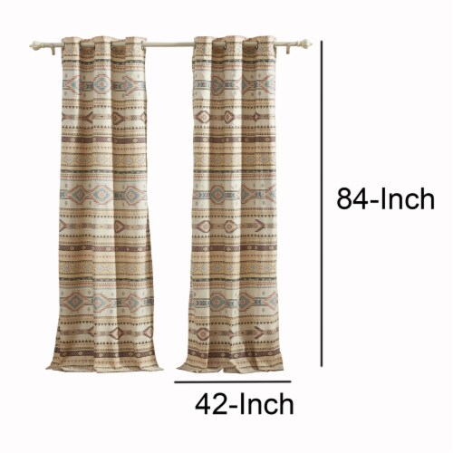 Saltoro Sherpi Polyester Panel Pair with Kilim Pattern and 2 Tie Backs, Multicolor Perspective: left