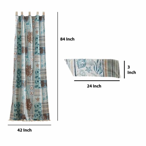 Saltoro Sherpi Sea Life Print Curtain Panel with Tie Backs, Set of 4, Blue and Brown Perspective: left