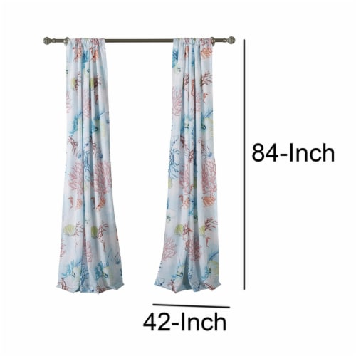 Saltoro Sherpi Polyester Panel Pair with Coral Prints and 2 Tie Backs, Multicolor Perspective: left