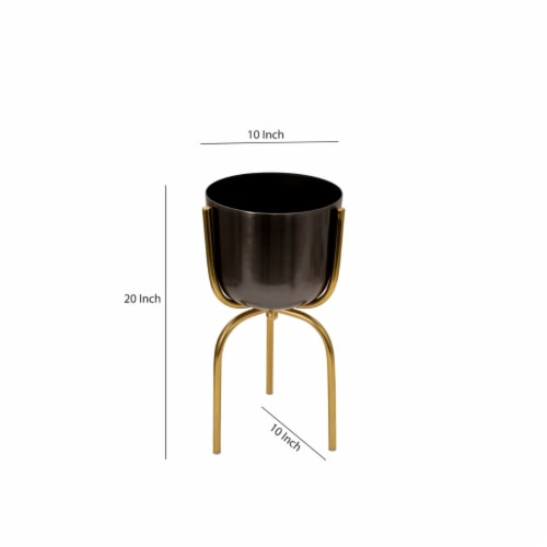 Saltoro Sherpi Round Metal Planter with Tripod Base, Silver and Gold Perspective: left
