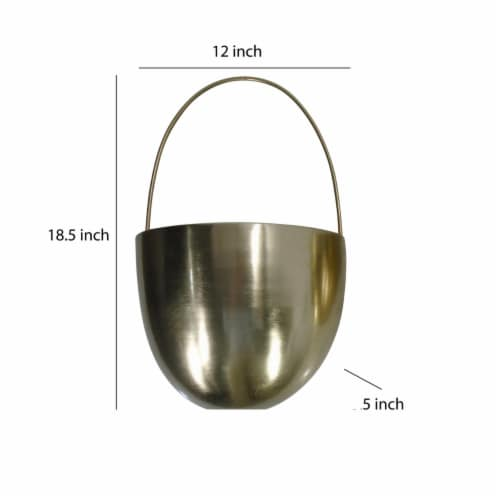Saltoro Sherpi Oval Shape Metal Wall Planter with Attached Hanger, Set of 2, Gold Perspective: left