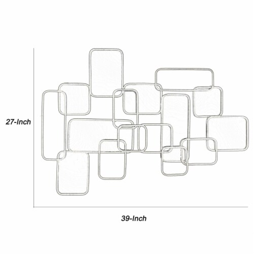 Saltoro Sherpi Rectangular Shaped Metal Mirrored Wall Decor with Curved Edges, Silver Perspective: left