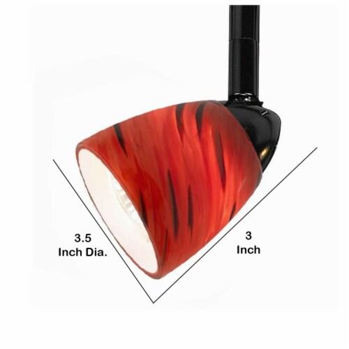 Saltoro Sherpi 50 Watt Track Fixture with Handblown Glass Shade, Black and Red Perspective: left