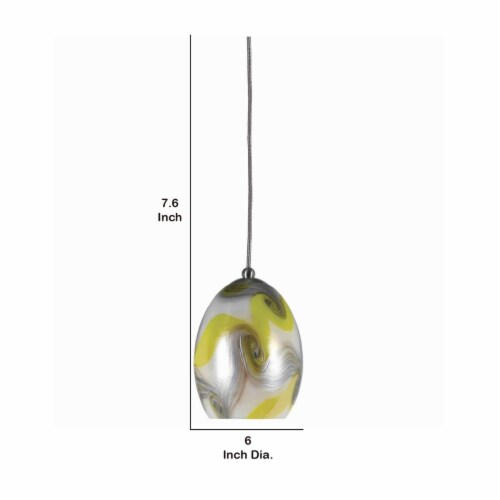 Saltoro Sherpi Oval Shade Pendant Lighting with Wave Pattern, Set of 4, Silver and Yellow Perspective: left