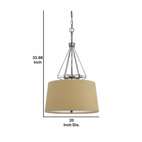 Saltoro Sherpi 3 Bulb Pendent with Round Burlap Shade and Metal Frame, Beige Perspective: left