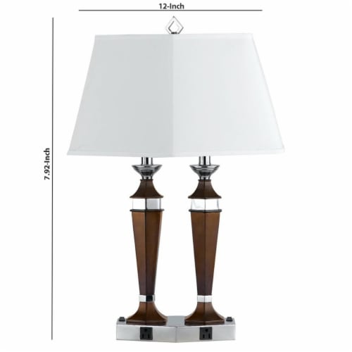 Saltoro Sherpi Wooden Pedestal Body Desk Lamp with 2 Rocker Switches, Brown and White Perspective: left