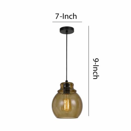 Saltoro Sherpi Round Glass Shade Pendant Lighting with Canopy and Hardwired Switch, Brown Perspective: left