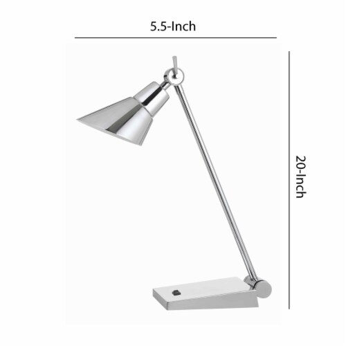 Saltoro Sherpi Adjustable Metal LED Desk Lamp with Rocker Switch, Chrome Perspective: left