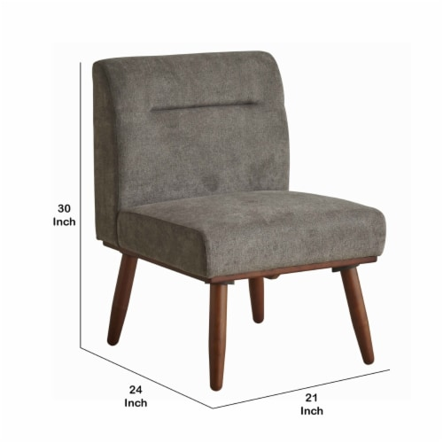 Saltoro Sherpi Upholstered 1 Seater Sofa with Splayed Legs and Padded Seat, Gray and Brown Perspective: left