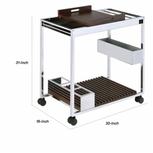 Saltoro Sherpi Metal and Wood Serving Cart with Tray and Floating Shelf, Brown and Silver Perspective: left