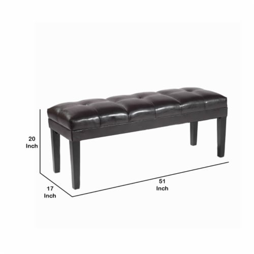 Saltoro Sherpi Bonded Leather Padded Bench with Button Tufted Details, Dark Brown Perspective: left