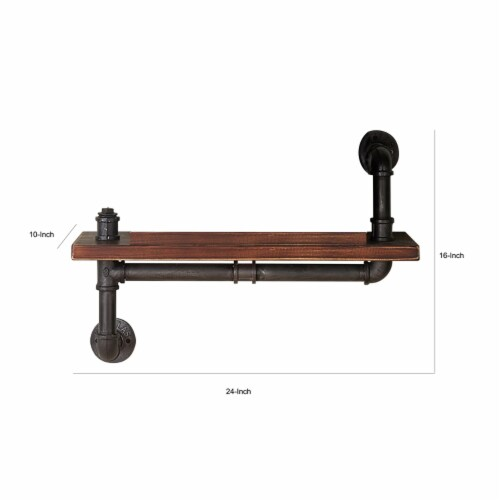 Saltoro Sherpi Pipe Design Metal Body Floating Single Wall Shelf, Gray and Brown Perspective: left