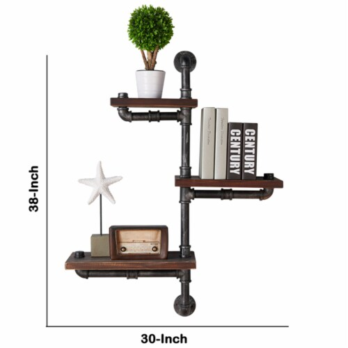 Saltoro Sherpi Metal Body Floating Three Wall Shelves with Pipe Design, Gray and Brown Perspective: left