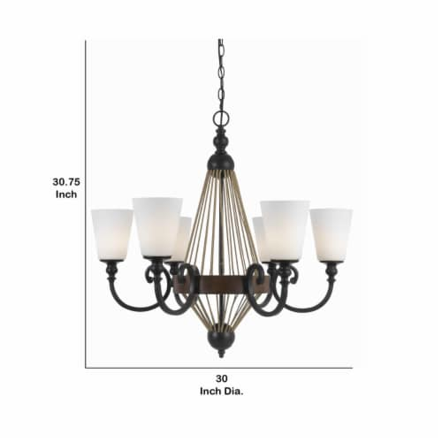 Saltoro Sherpi 6 Bulb Chandelier with Wooden and Scrolled Metal Frame, Brown and Black Perspective: left