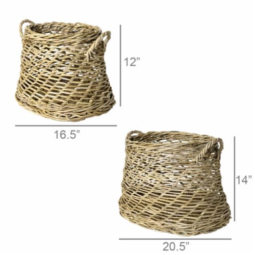 Saltoro Sherpi Rattan Open Woven Basket with Curved Handles, Set of 2, Brown Perspective: left