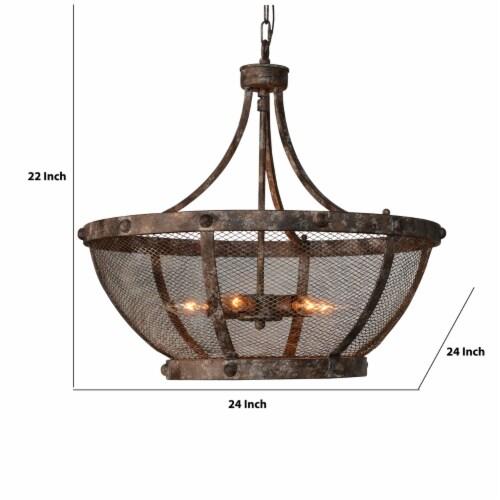 Saltoro Sherpi Metal Frame Cross Hatch Mesh Design 6 Light Chandelier, Antique Bronze Perspective: left