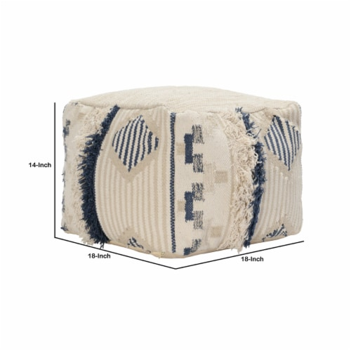 Saltoro Sherpi Fabric Pouf Ottoman with Woven Design and Fringe Details, Cream and Blue Perspective: left