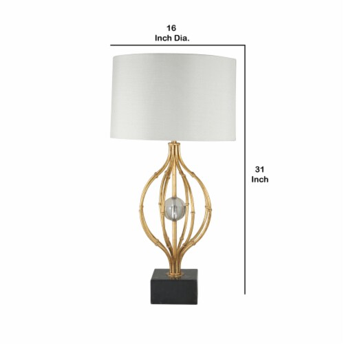 Saltoro Sherpi Metal Table Lamp with Curved Open Base and Crystal Orb, Gold Perspective: left