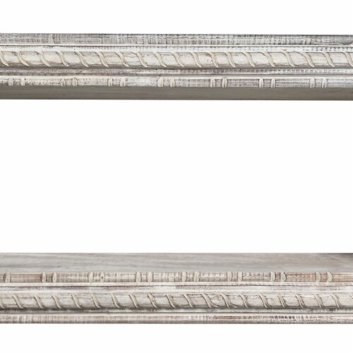 Rectangular Mango Wood Wall Mounted Shelf with Carved Details, Antique White ,Saltoro Sherpi Perspective: left