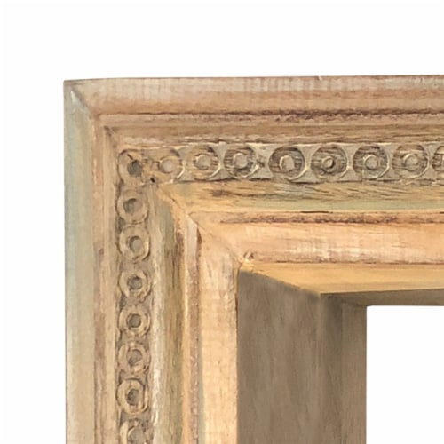 Molded and Carved Textured Mango Wood Wall Mounted Shelf, Distressed Brown ,Saltoro Sherpi Perspective: left