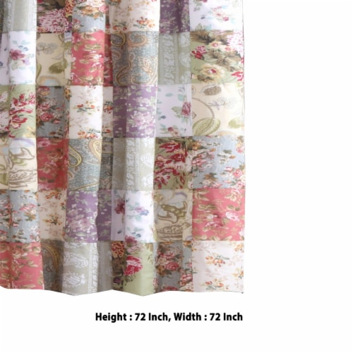 Saltoro Sherpi Eiger Fabric Shower Curtain with Jacobean Prints, Multicolor Perspective: left