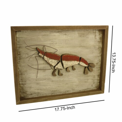 Saltoro Sherpi Rectangular Wooden Frame Lobster Wall Decor, Brown and Red Perspective: left