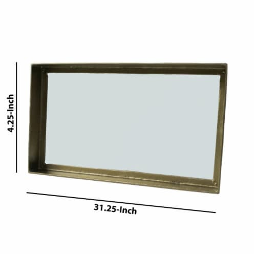 Saltoro Sherpi Rectangular Metal Mirror with Raised Frame, Brass Perspective: left