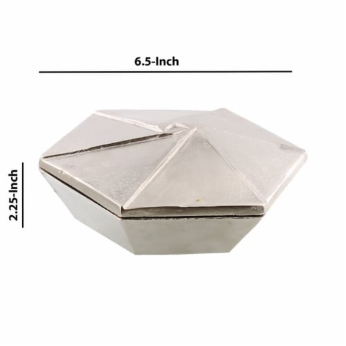 Saltoro Sherpi Metal Hexagonal Shaped Box with Lid, Small, Silver Perspective: left