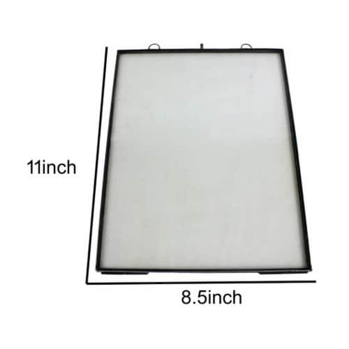 Saltoro Sherpi Vertical Sleek Metal Wall Frame with Keyhole Hanger, Black and White Perspective: left
