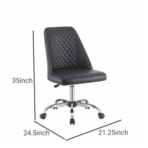 Saltoro Sherpi Diamond Pattern Stitched Leatherette Office Chair with Star Base, Gray Perspective: left