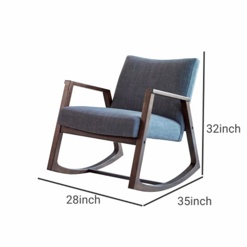 Saltoro Sherpi Fabric Rocking Chair with Open Wooden Arms, Gray and Brown Perspective: left