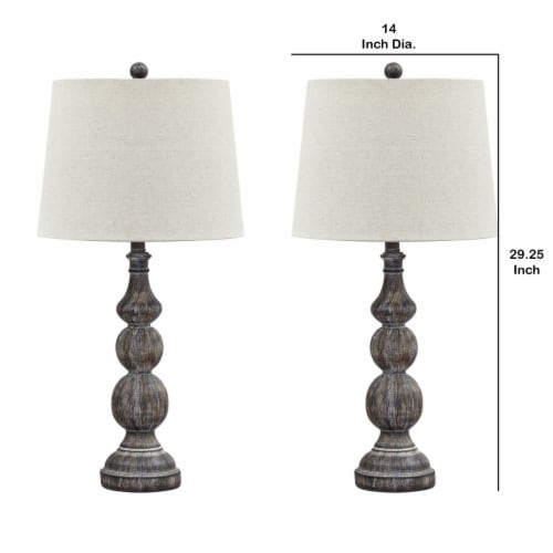 Saltoro Sherpi Polyresin Table Lamp with Turned Base, Set of 2, Brown and Off White Perspective: left
