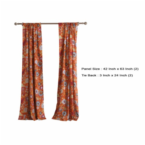 Saltoro Sherpi Paris 4 Piece Floral Print Fabric Curtain Panel with Ties, Orange Perspective: left