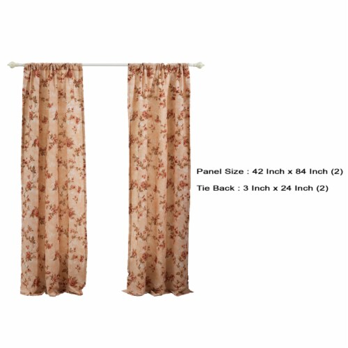 Saltoro Sherpi Munich 4 Piece Flower and Petal Print Fabric Curtain Panel with Ties,Beige Perspective: left