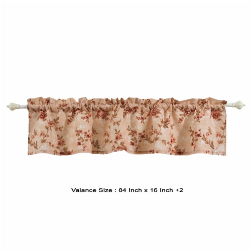 Saltoro Sherpi Munich Flower and Petal Fabric Window Valance with Loops, Beige Perspective: left