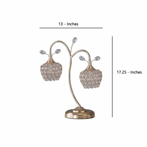 Saltoro Sherpi Floral Tree Design Metal Table Lamp with Dome Shade and Crystals, Gold Perspective: left