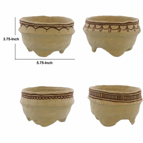 Round Bowl with Paper Mache Henna Print, Assortment of 4, Brown, Saltoro Sherpi Perspective: left