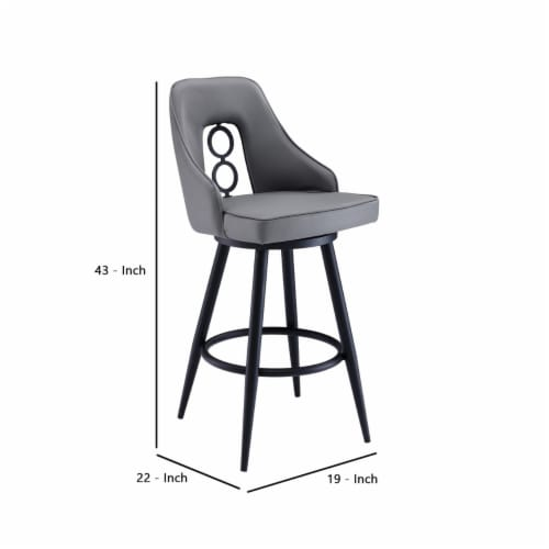 Saltoro Sherpi Faux Leather Barstool with Metal Tapered Legs, Gray and Black Perspective: left