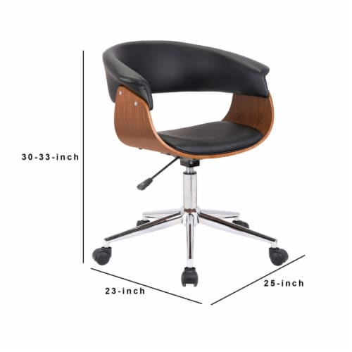 Saltoro Sherpi Curved Faux Leather Office Chair with Wooden Support and Star base, Black Perspective: left
