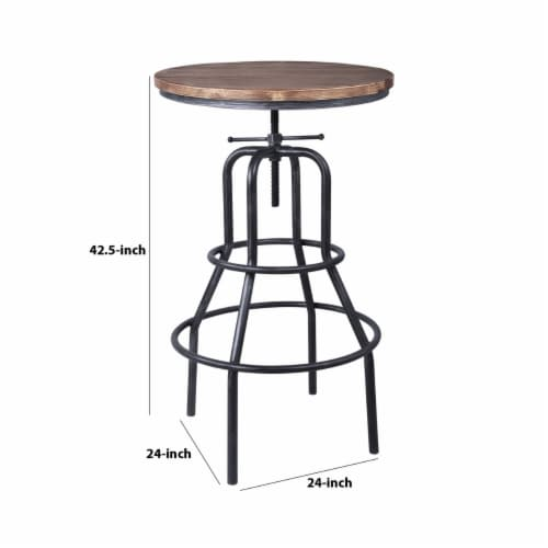 Saltoro Sherpi Metal Adjustable Height Pub Table with Round Seat, Brown Perspective: left