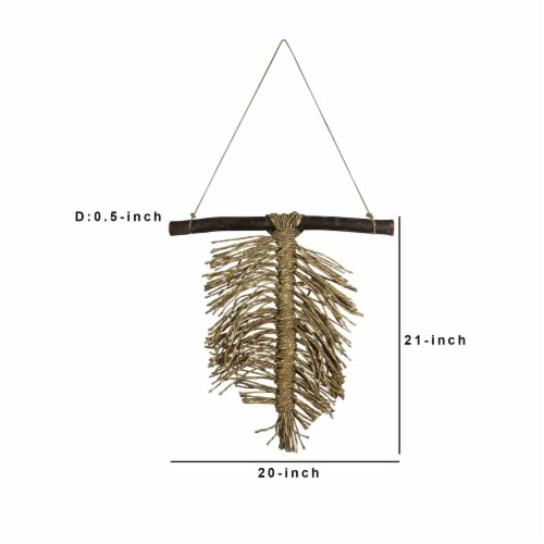 Wooden Wall Hanging with Seagrass Accent, Brown ,Saltoro Sherpi Perspective: left