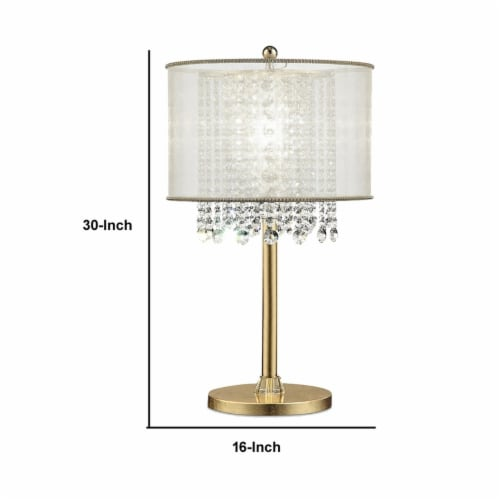 Saltoro Sherpi Table Lamp with Hanging Crystal Accents, White and Gold Perspective: left