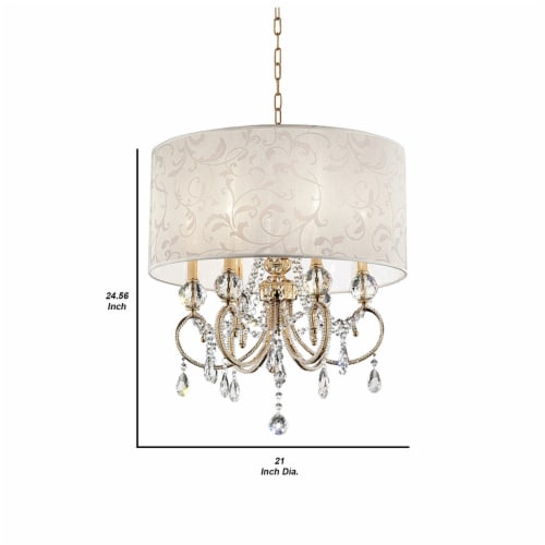Ceiling Lamp with Crystal Accent and Baroque Style Shade, Gold Perspective: left