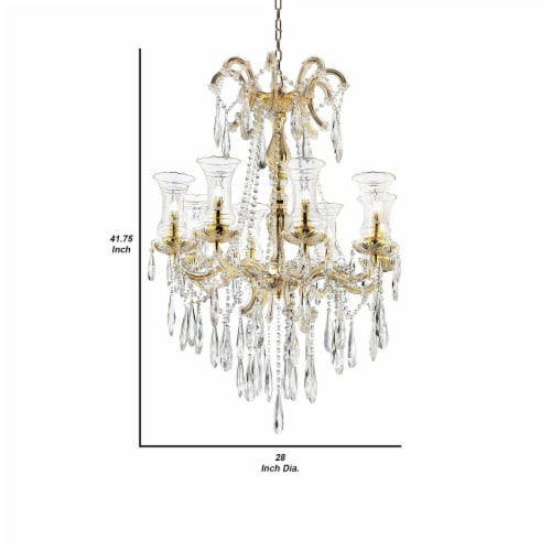 Chandelier with Crystal Accents and 8 Glass Hurricane, Gold Perspective: left