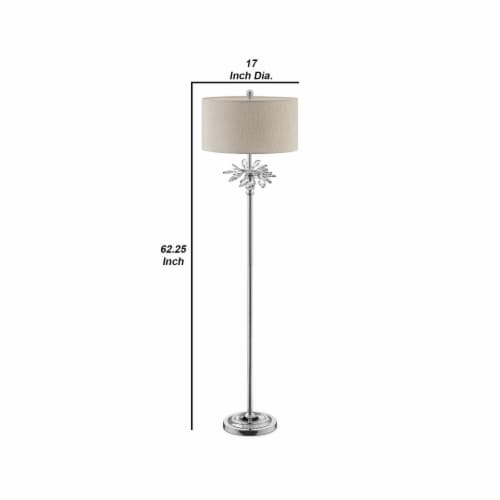 Floor Lamp with Starburst Crystal Accent, Gray and Silver Perspective: left