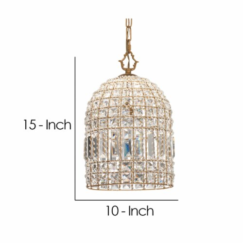 Pendant Chandelier with Dome Metal Frame and Crystal Accents, Gold ,Saltoro Sherpi Perspective: left