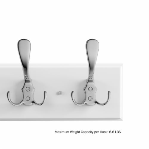 White Wall Hook Rail-Mounted Hanging Rack with 6 Hooks-Entryway, Hallway, or Bedroom-Storage Perspective: left