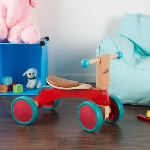 Walk and Ride Wooden 4 Wheel Tricycle with Seat Walking 1 - 2 Yrs Old Perspective: left