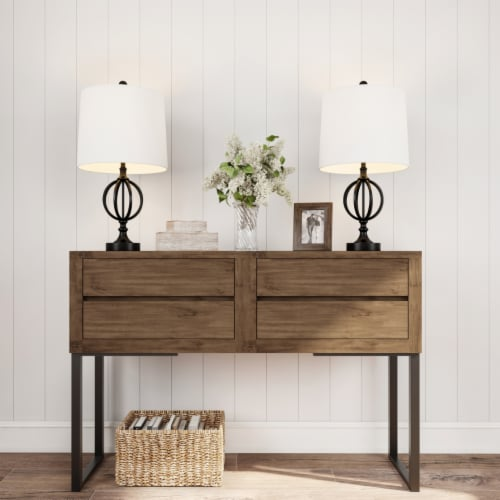 Table Lamps- Set of 2 Openwork Iron Orb Lights, Bulbs and Shades Included-Modern Rustic Style Perspective: left