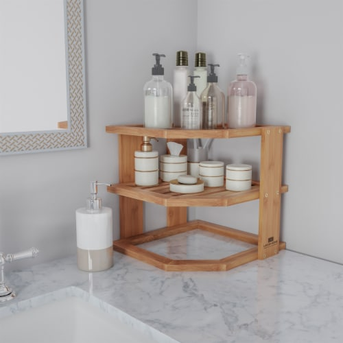 3-Tier Bamboo Corner Shelf for Kitchen or Bathroom Cabinet, Countertop, Cupboard Storage and Perspective: left